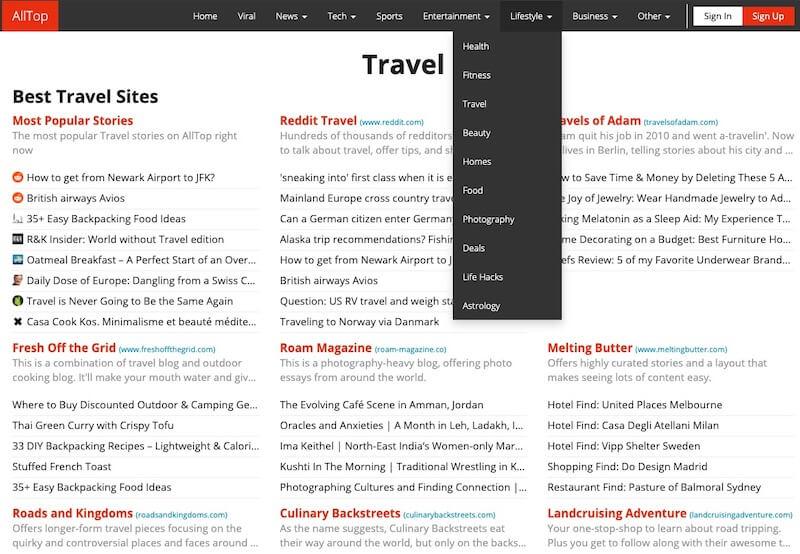 AllTop website screenshot
