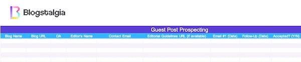 Guest post prospecting spreadsheet