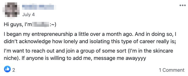 FB comment about blogging being a lonely journey