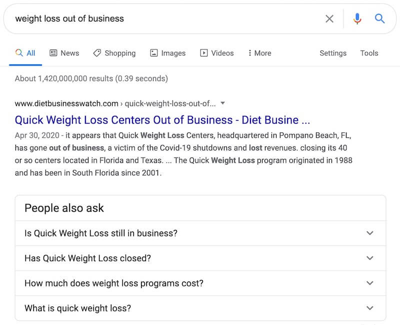 """""""Out of business"""" search example"""