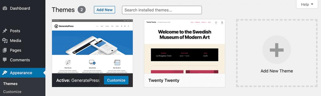 WordPress Appearance Themes