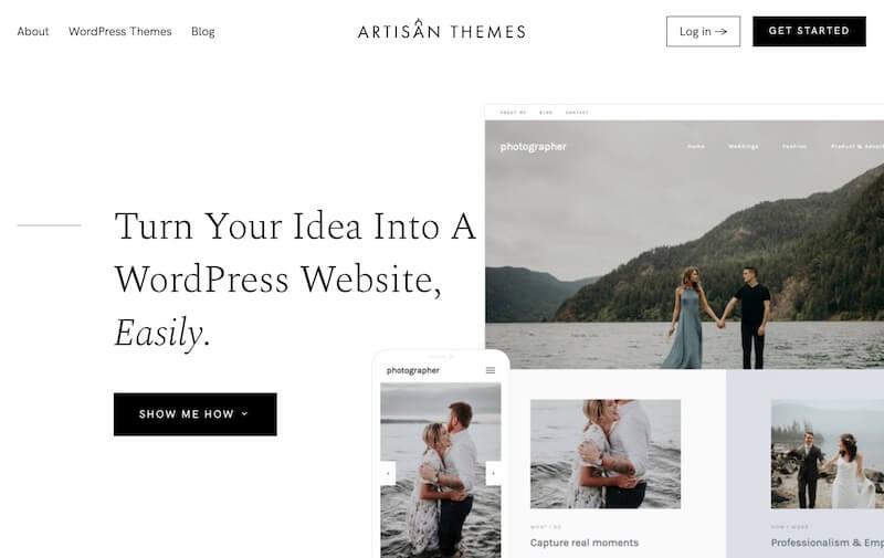Artisan Themes homepage