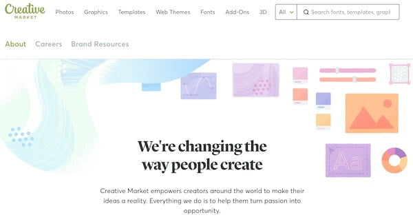 Creative Market About page example