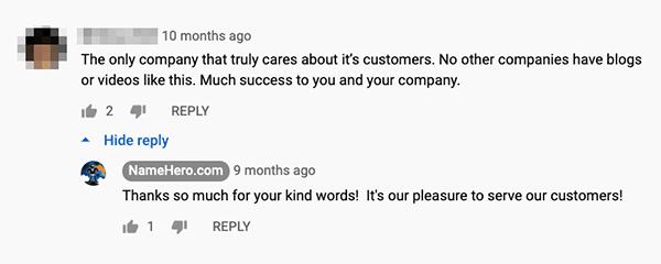 NameHero YouTube comment