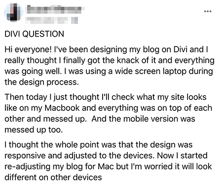 Comment about mobile responsive site