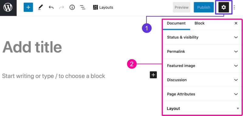 Page editor settings sidebar