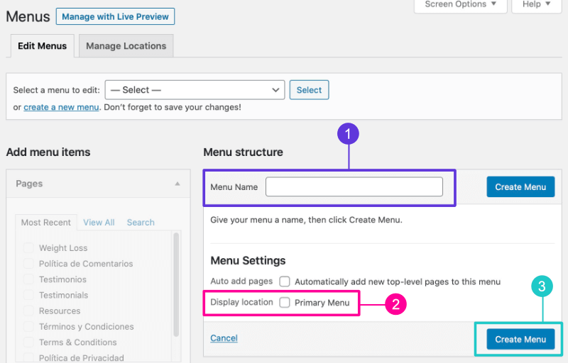 Setting menu name and location