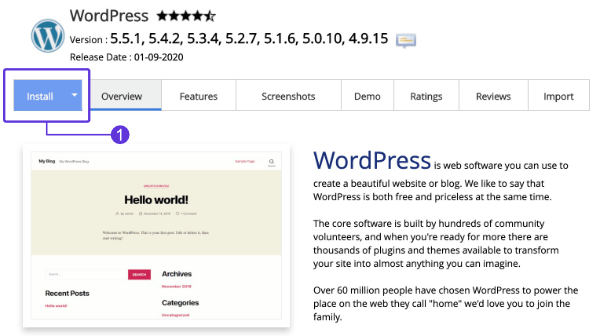 WordPress install button