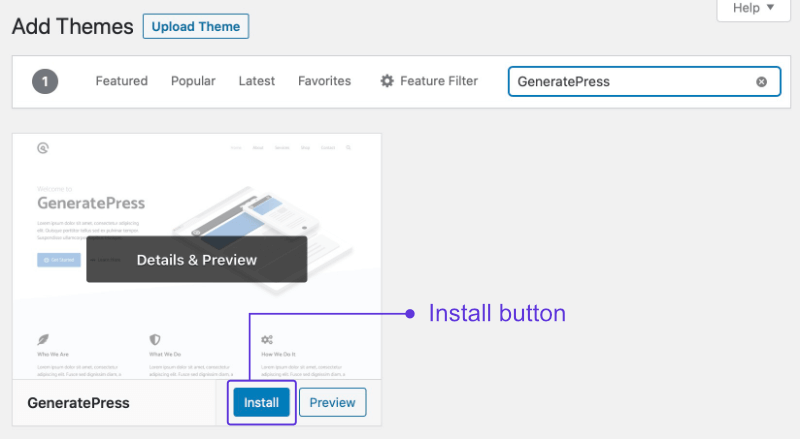 Installing your WordPress theme