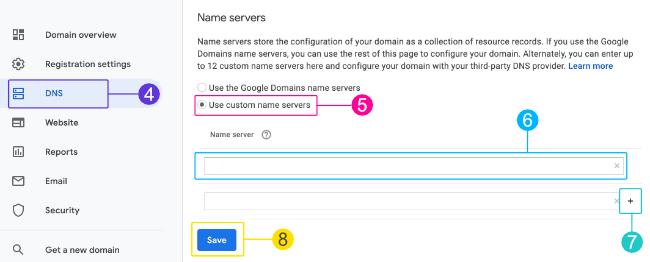 Adding custom nameservers
