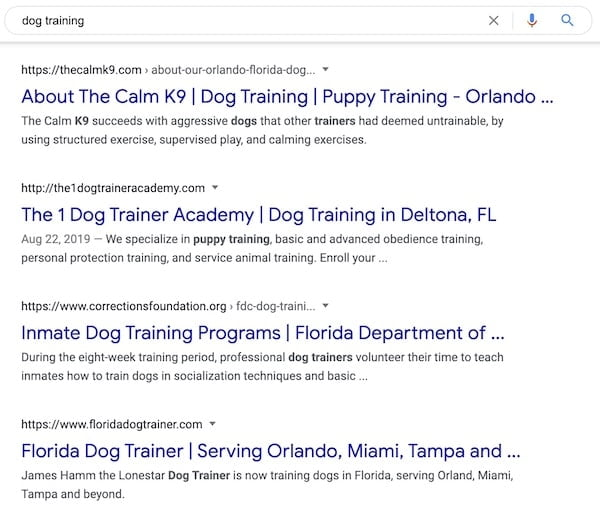 Dog training search intent