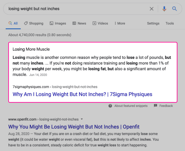 Featured snippet example