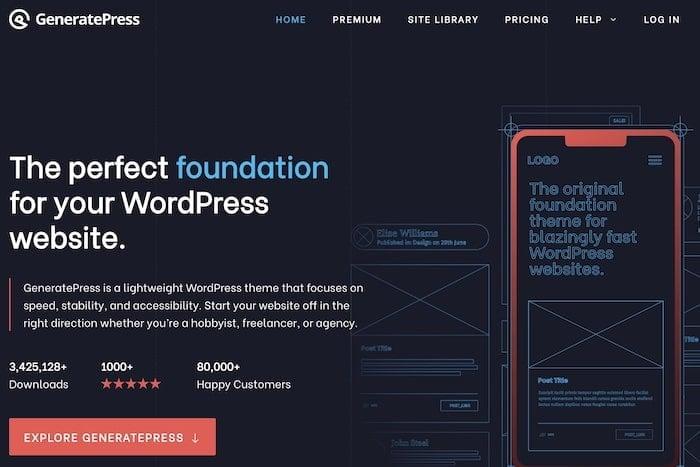 GeneratePress theme homepage
