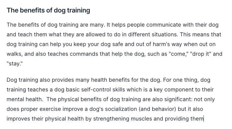Benefits of dog training Command output