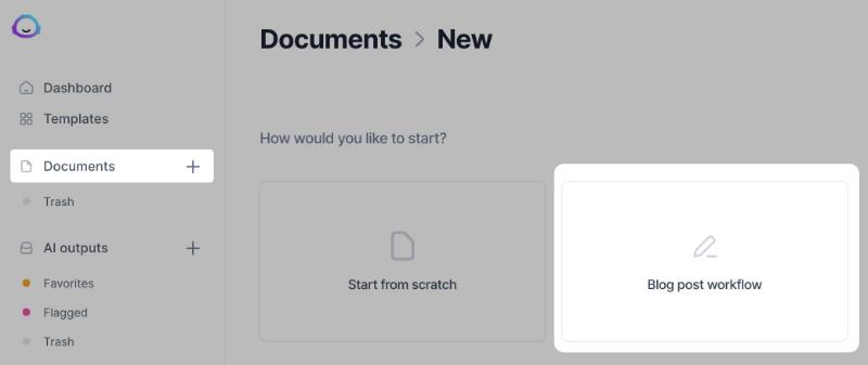 Choose document type on Jarvis