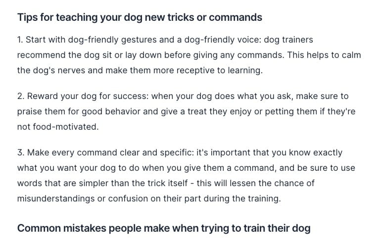 Generating a list of dog training tips