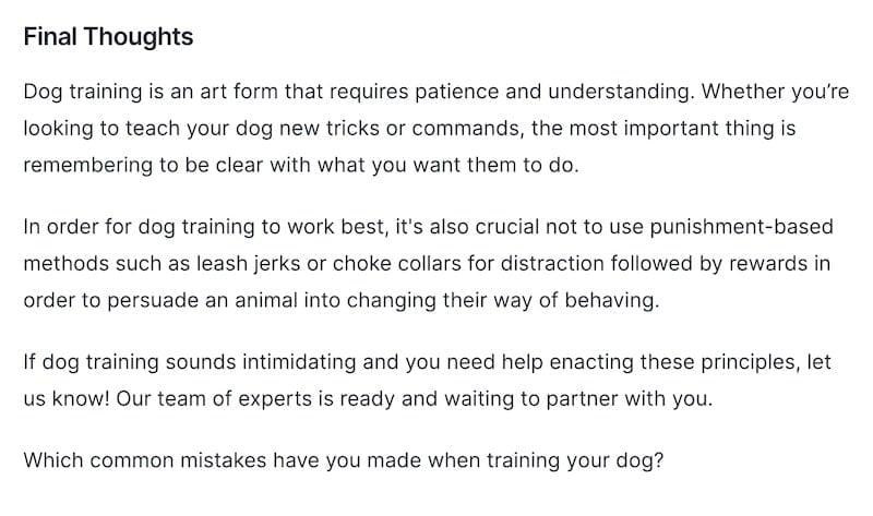 Editing dog training conclusion