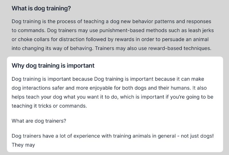Dog training importance output