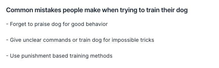 Generating dog training tips bullet points