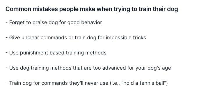 Generating more dog training mistakes
