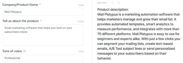 Product Description output