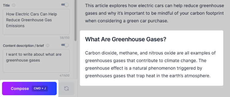 Greenhouse Gases Compose Output