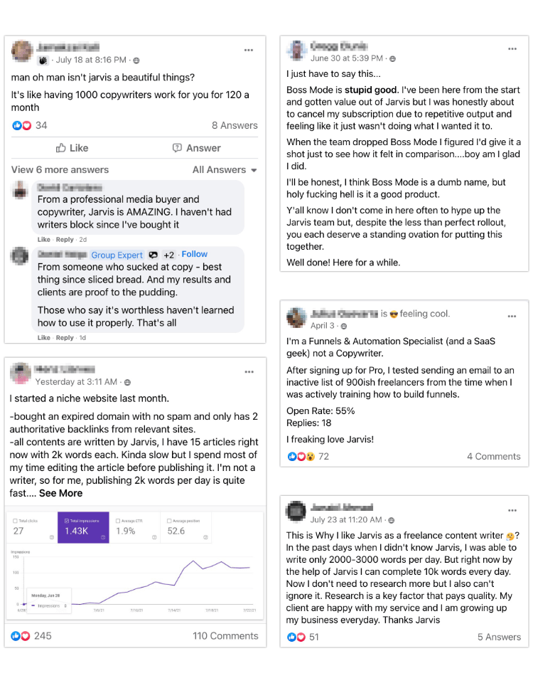 Jarvis AI Reviews from Facebook groups
