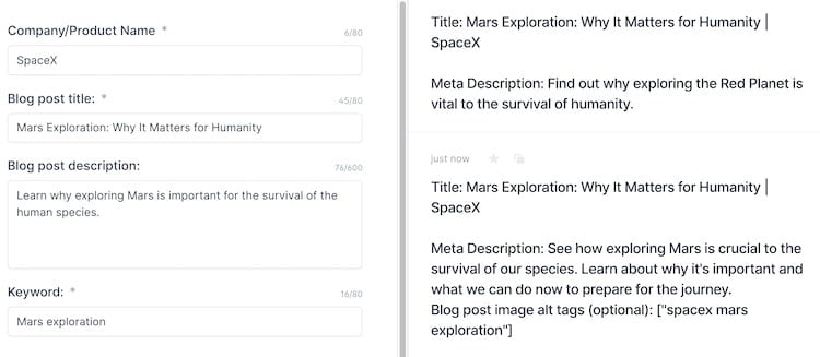 SEO Title Tags and Meta Descriptions output