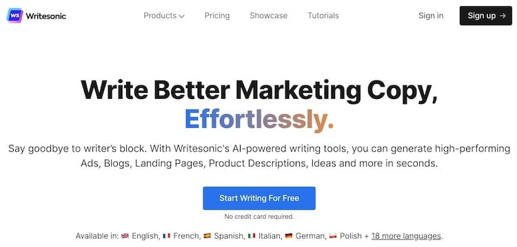 Writesonic Screenshot