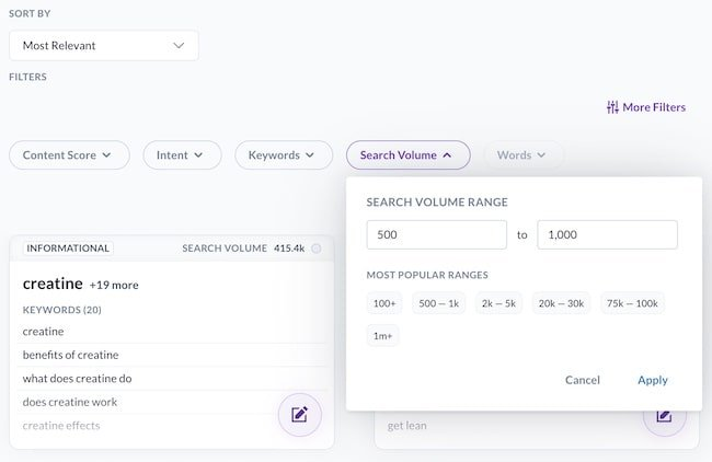 Content Planner filters
