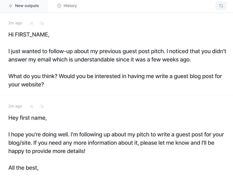 Guest post pitch output