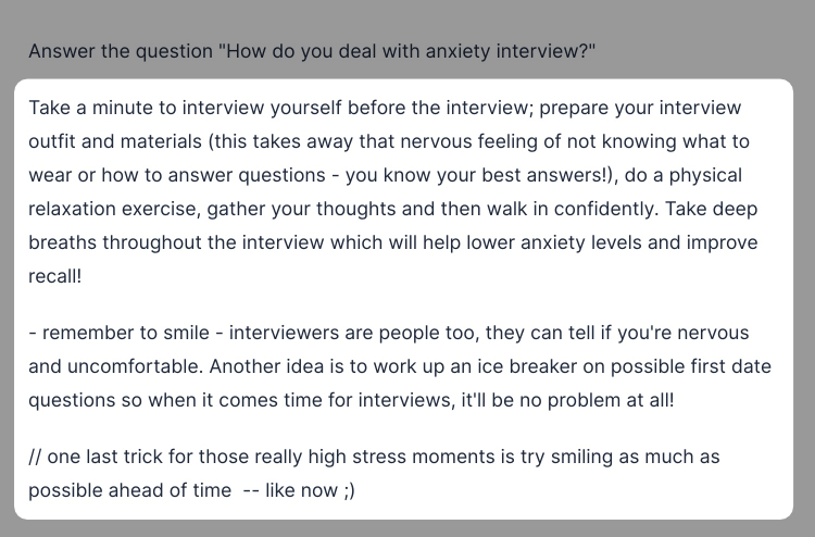 Interview anxiety output using commands