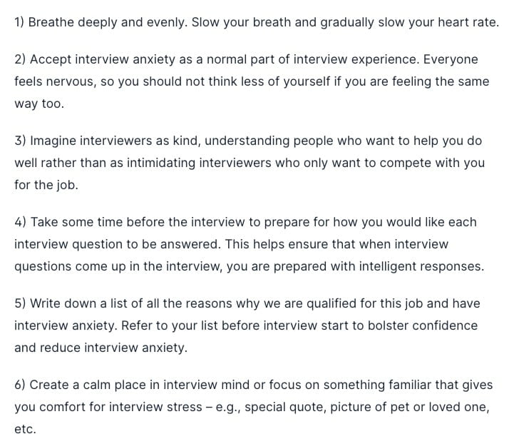 More interview tips