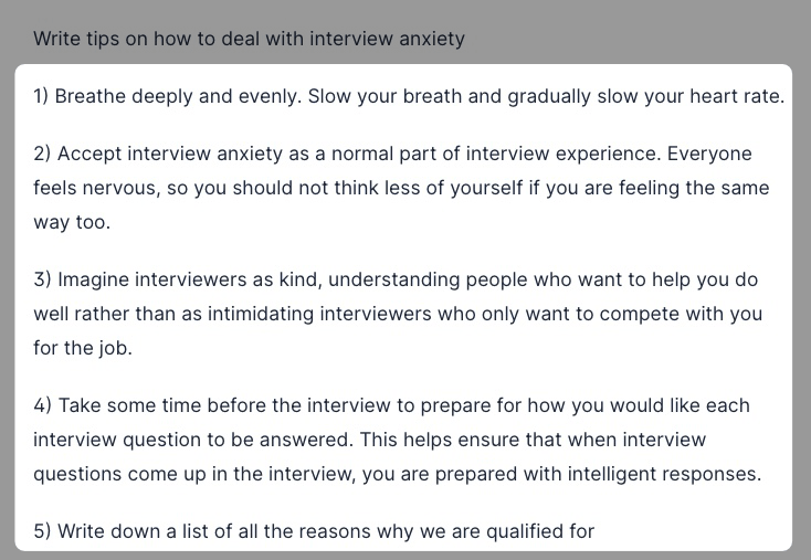 Interview tips generated by Jarvis