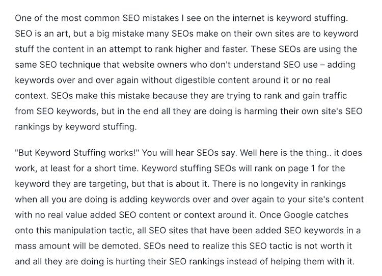 Keyword stuffing output continued