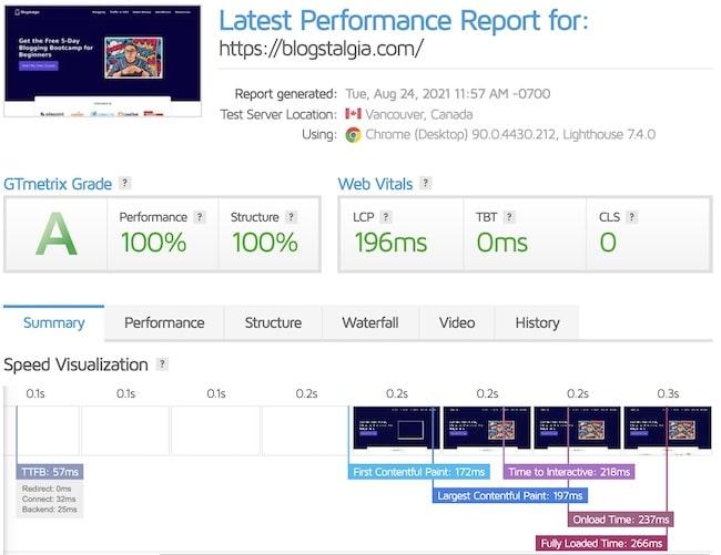 Rocket.net GTmetrix speed test